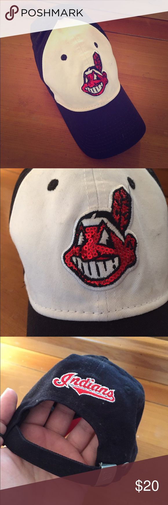 Womans Cleveland Indians Sparkle Logo Baseball Hat I have a serious shopping issue obviously.. Went to a Indians game with a friend and bought this hat even though I'm a die hard Pirates fan! Lol. Never been worn! Firm on the price. Super cute hat! #GoBucs New Era Accessories Hats