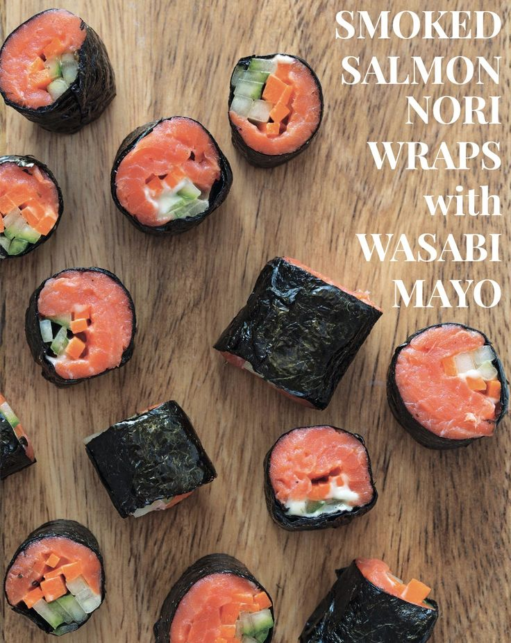 SMOKED SALMON NORI WRAPS with WASABI MAYO #paleo