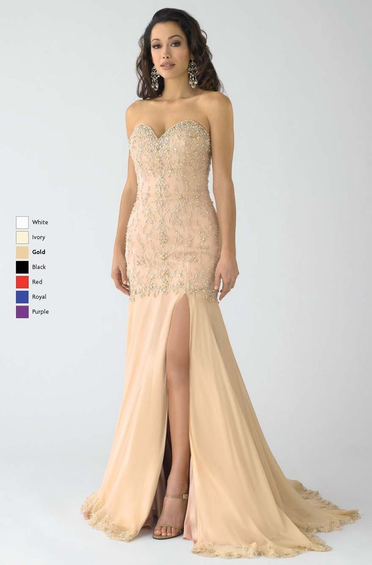 Cute Cheap Champagne Mermaid Sweetheart and Strapless Low Back Sweep Train Floor Length Prom Dresses With Beading
