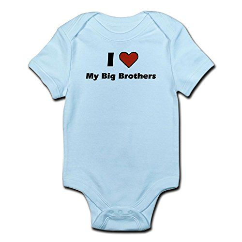 CafePress - I heart my big Brothers Infant Bodysuit - Cute Infant Bodysuit Baby Romper:   CafePress brings your passions to life with the perfect item for every occasion. With thousands of designs to choose from, you are certain to find the unique item you've been seeking. What newborn doesn't look great in an infant romper with a funny or cute design? This baby bodysuit has been crafted with quality and care, so your newborn will be sporting style through their onesie and twosie years...