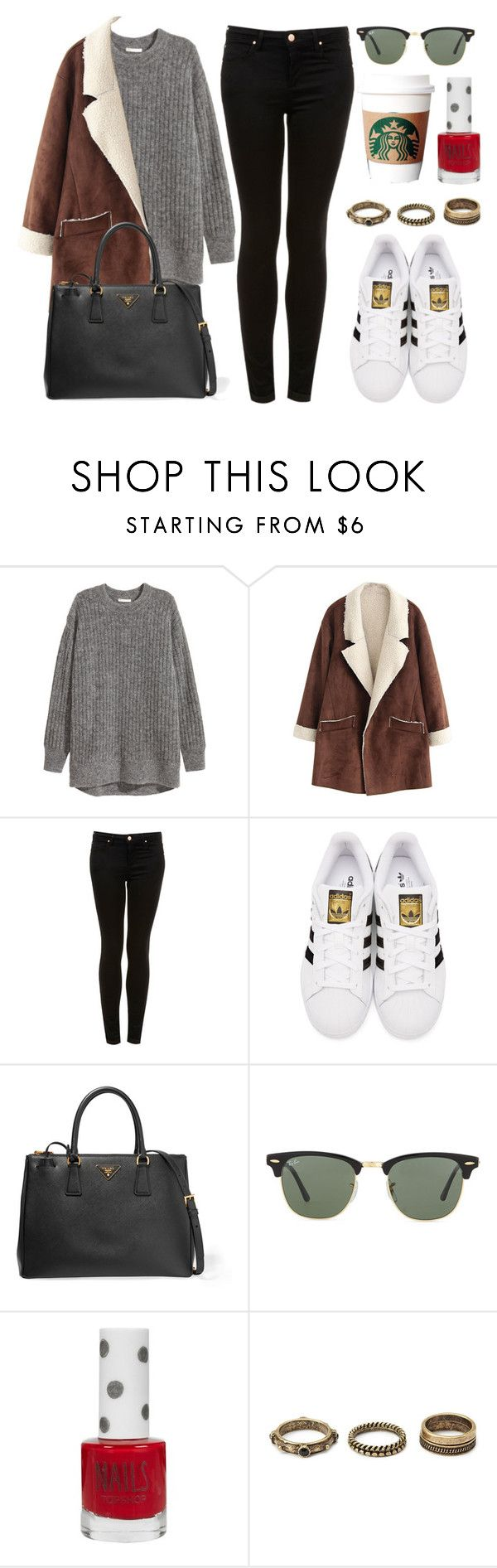 """""""Sin título #11981"""" by vany-alvarado ❤ liked on Polyvore featuring H&M, Topshop, adidas Originals, Prada, Ray-Ban and Forever 21"""