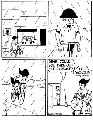 Why is this so true?  Maybe because biking in the rain feels like you are slicing through the drops