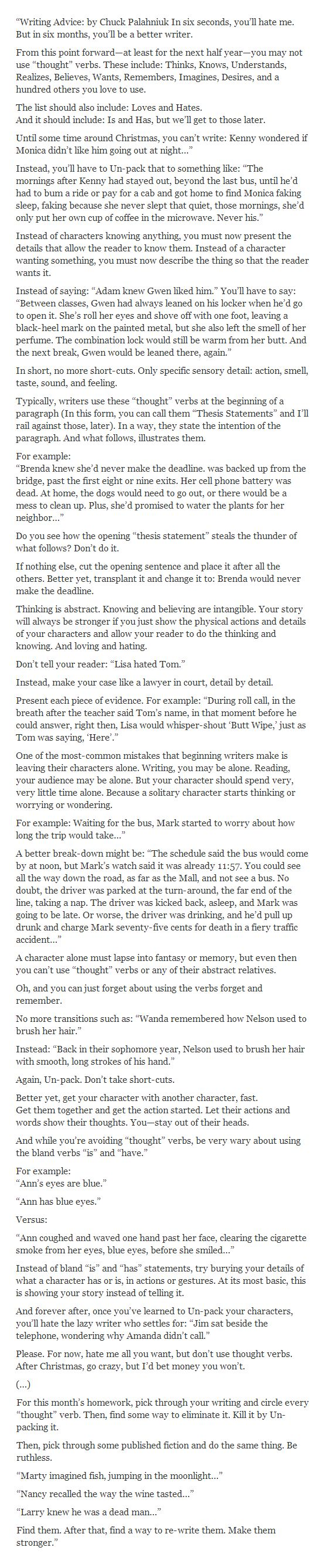 """Writing Advice by Chuck Palahniuk 