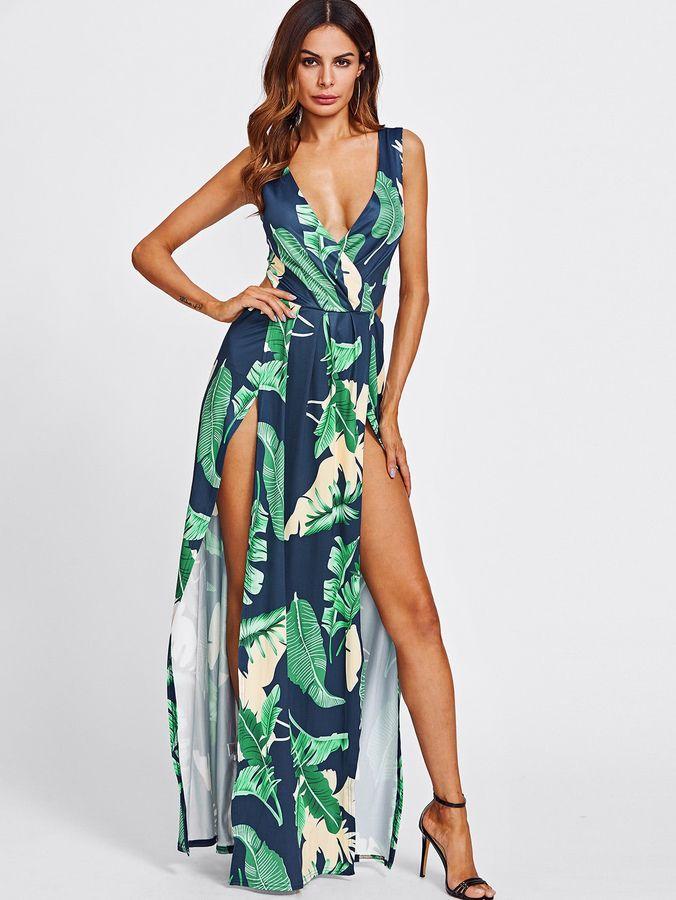 Dresses 2019 Casual Women Sexy Summer Beach Dress Slash Neck Sleeveless Printed Floral Dress Streetwear Maxi Backless Dress Colours Are Striking