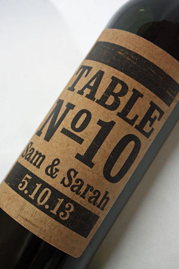 Wine bottle label wedding table numbers
