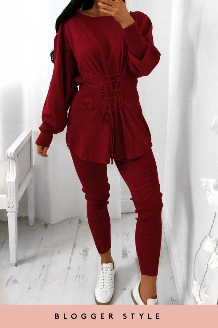 Daisy Wine Ribbed Corset Front Loungewear Set