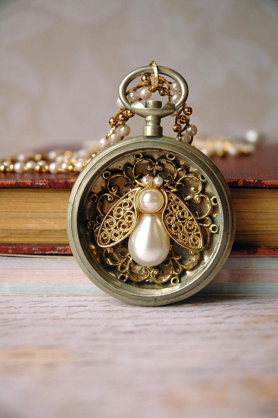 Steampunk queen bee pocket watch necklace by bionic unicorn