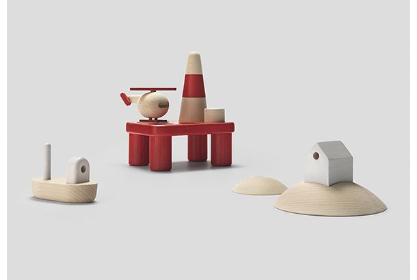 こちらはノルウェーのデザインブランドPermafrostの木製のおもちゃのシリーズ。シンプルで素朴な造形は、これぞ北欧デザインと...