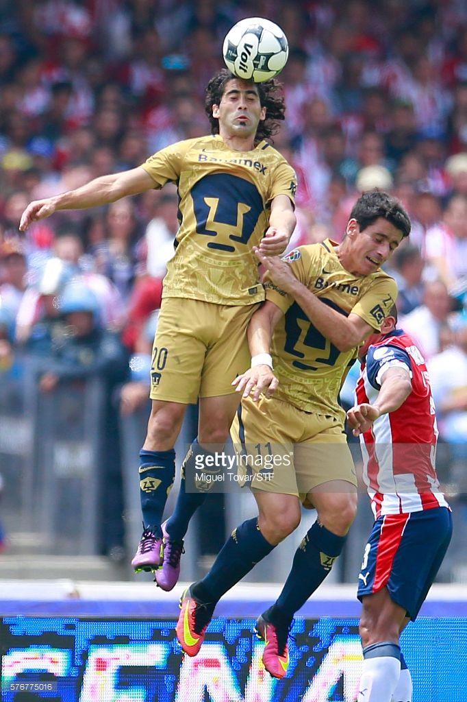 Matias Britos of Pumas defends during the 1st round match between Pumas UNAM and Chivas as part of the Torneo Apertura 2016 Liga MX at Olimpico Universitario Stadium on July 17, 2016 in Mexico City, Mexico.