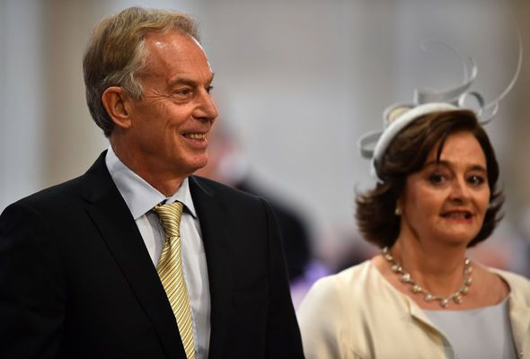Former PM Tony Blair and his wife Cherie arrive at St Paul's