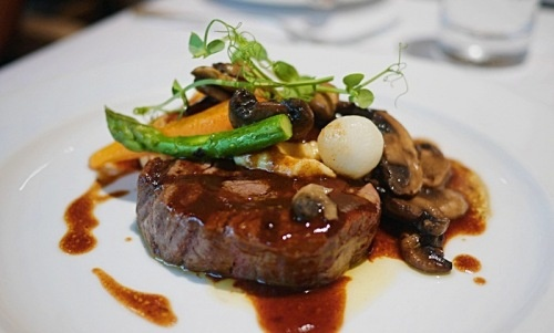 US Beef Fillet and Braised Cheeks in Bordelaise Sauce and Seasonal Mushrooms served at Gordon Grill.