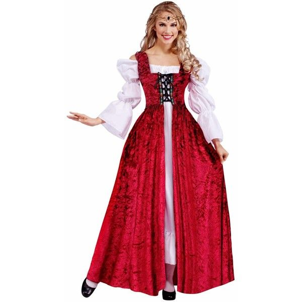 Medieval Lady Lace Up Gown Plus Size Adult Costume ($35) ❤ liked on Polyvore featuring costumes, halloween costumes, womens renaissance costume, adult halloween costumes, sexy goddess costume, women's halloween costumes and sexy adult costumes