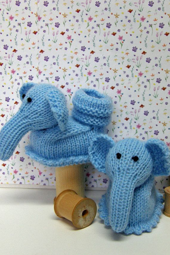 knitted baby booties, baby shower gift, knitted boy booties, elephant, ready to ship