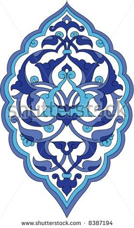 Neo classical rumi design on a single tile for wall ornament purpose, Turkey