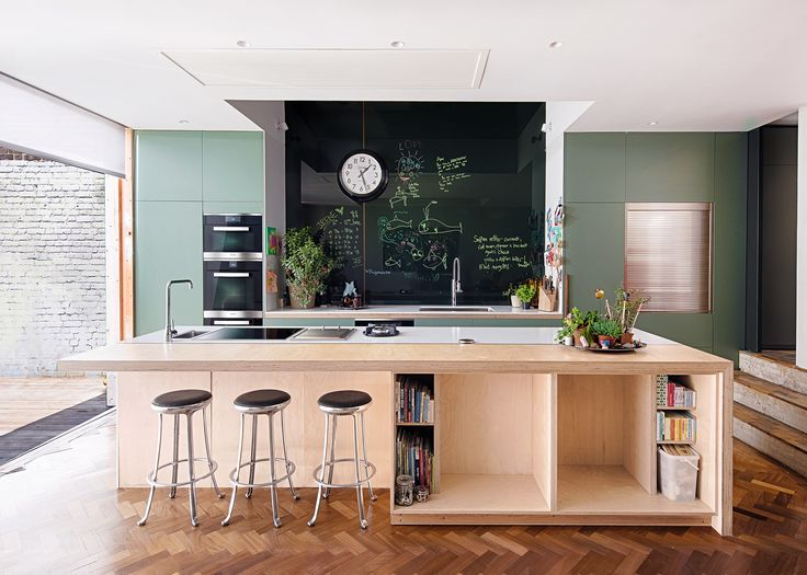 Professional chef Anna Hansen, MBE's kitchen with Miele appliances - a large island makes this space perfect for entertaining friends and family whilst preparing food