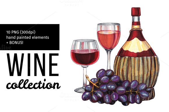 Hand drawn wine illustration. by Svetlana Kazakova on @creativemarket