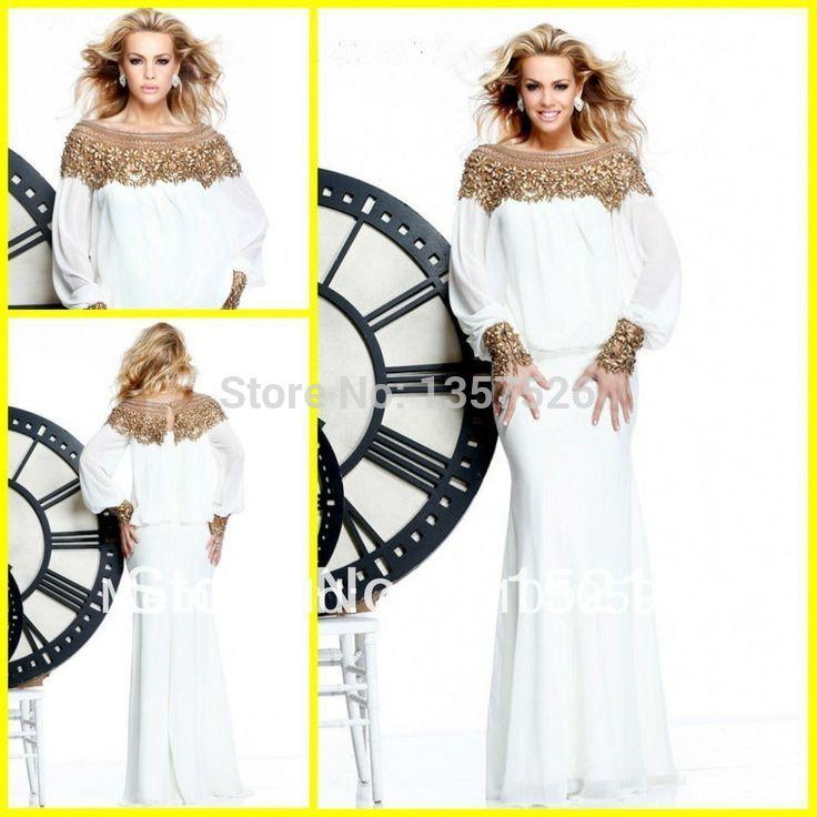 Арабский Стиль Белый Русалка Вечерние Платья с длинными рукавами 2016 Дубай Арабский Пром Платья с золотой вышивкой бисером vestidos GD005