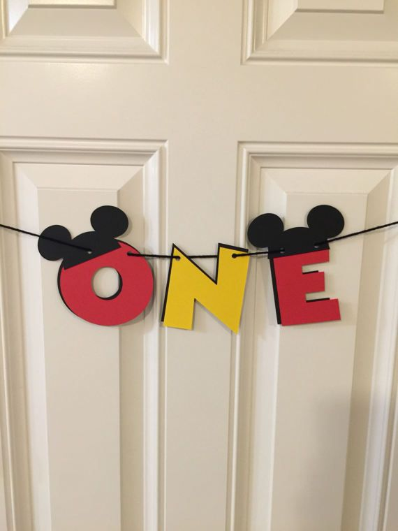 Mickey Mouse 1st Birthday Banner / High Chair Banner / ONE