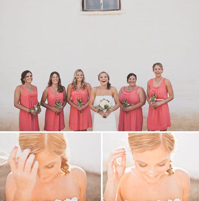 .: Coral Dress, Handmade Wedding, Color Dresses, Tylerbranch Wedding 051, Pretty Color, Cute Bridesmaid Dresses, Bridesmaid Bouquets, Coral Color