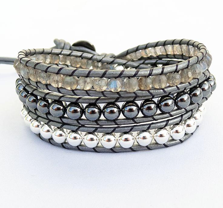 Labradorite Gemstone, Hematine (imit. hematite) and Silver Metal Beaded Leather Bracelet #labradorite