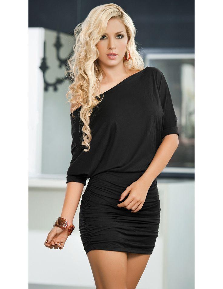 Off the Shoulder Mini Dress - Black