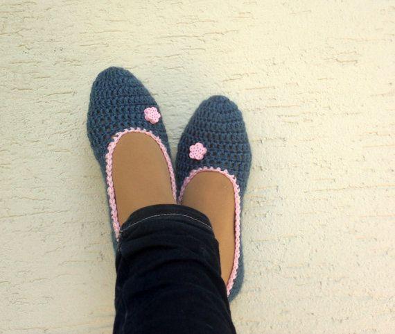 Crochet denim slippers womens slippers home by KnitterPrincess, $19.90