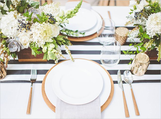Gold, white, cream, green and black story.   Love the faded black and white striped runner and the english inspired flowers.