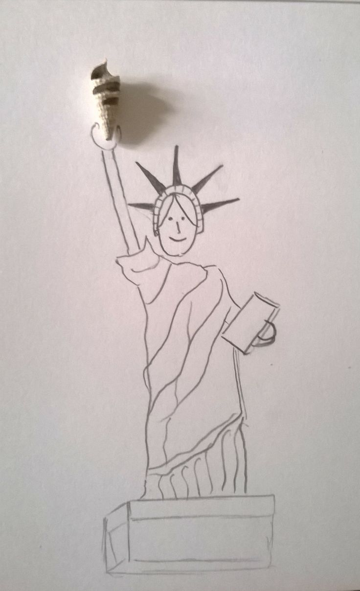 Creative illustrations. A shell as the torch in Lady Liberty's hand.