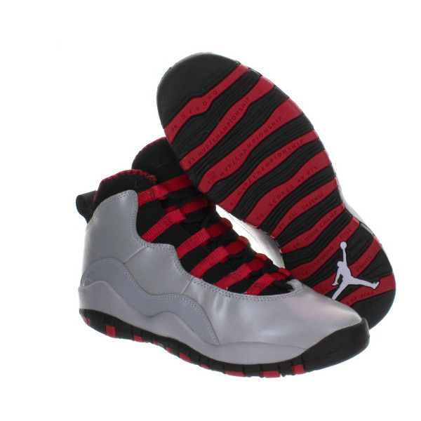 Girls Air Jordan 10 Wolf Grey/Black-Legion Red