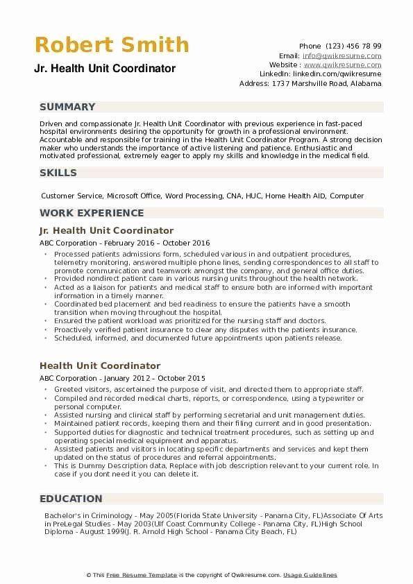 Health Unit Coordinator Job Description Resume Beautiful ...