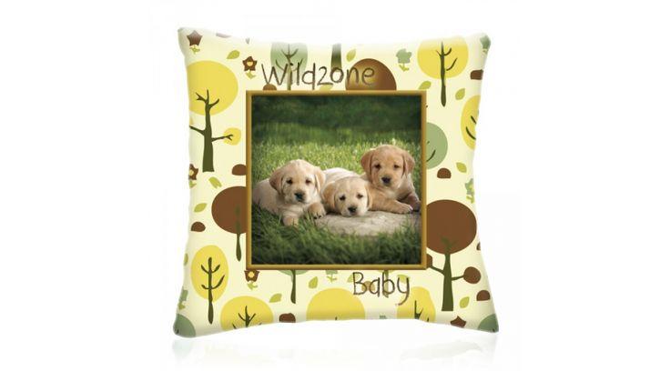 WILD ZONE Baby KISKUTYÁK állatos díszpárna 28x28 cm, Diszparna.com I Díszpárna webáruház