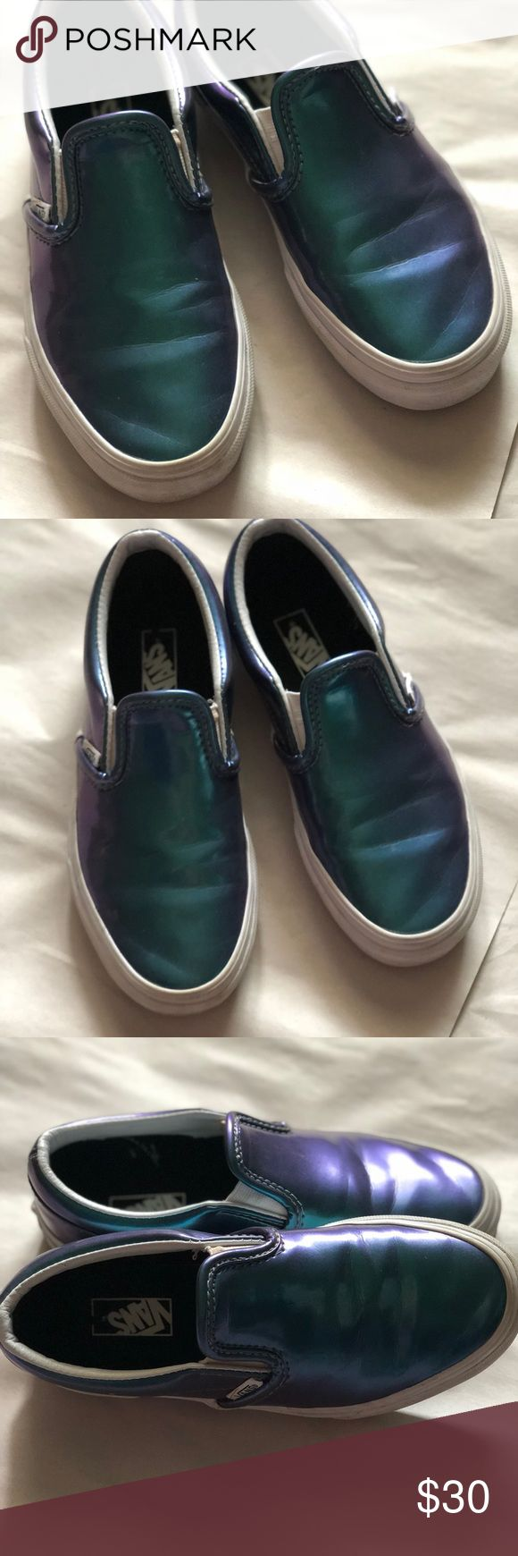Vans! Youth 2.5! Leather Vans! Translucent blue, purple and green! Youth size 2.5! Only worn a few times before my son out grew them! Gently used condition! These are great for boy or girl! Vans Shoes Sneakers