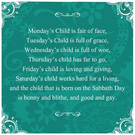 Monday's Child poem with some added scrolls and fun!  Rachel was born on a Thursday