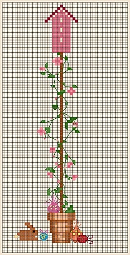 BIRDHOUSE---APRIL sweet pea free cross stitch chart