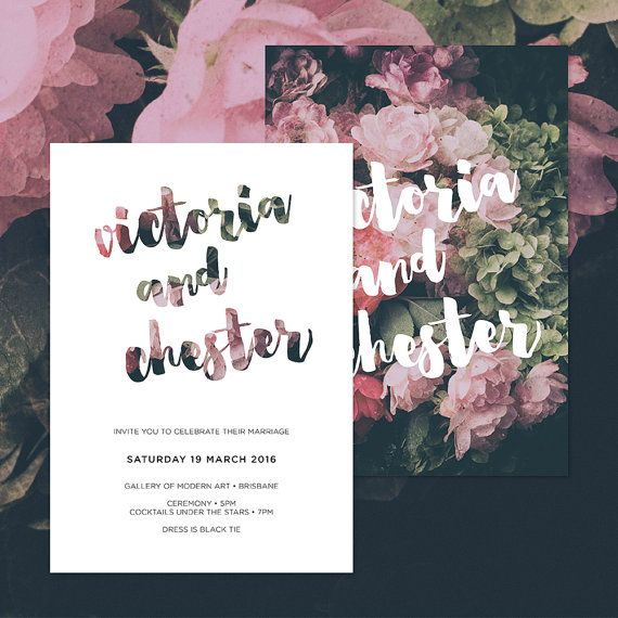 Classic Moody Floral Wedding Invitations • Ready to Post Printable Invitations • Roses, Hydrangea, Peonies and Typography