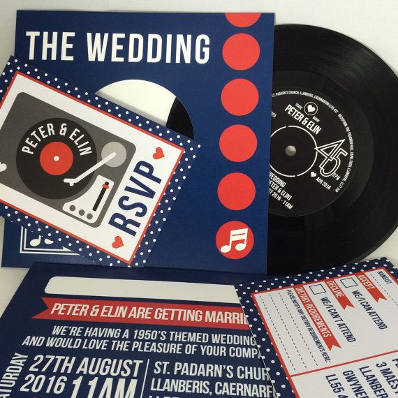 REAL Vinyl Record Wedding Invitations (can also be adapted for birthdays, or other occasions!) The perfect invitation for music/ vinyl lovers!