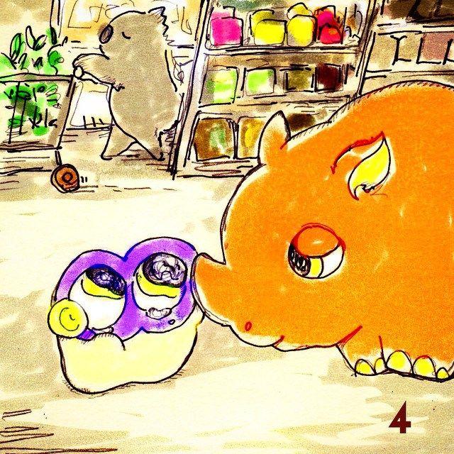 Be relived ! Rhino comes for Guzu-mushi .. #mizumushikun #manga #story #art #artwork #drawing #comic #visualart #graphic #cute #animal #painting #picture #shoppingmall #shopping #coming #vivid #color