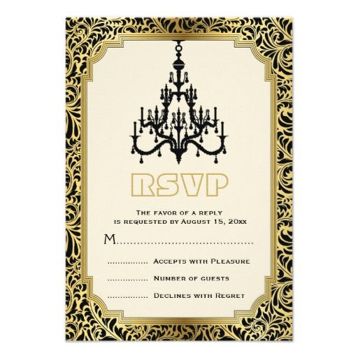 Art Deco chandelier black, gold wedding RSVP reply card with damask border.  #RSVP, #replycard, #artdeco, #wedding, #chandelier, #damask, #gold, #black