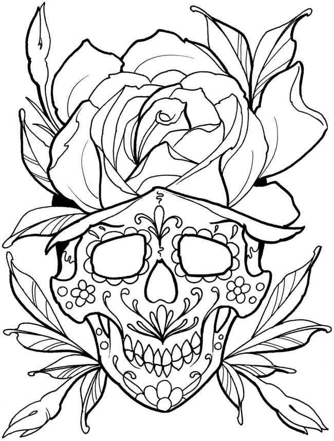 coloring pages for adults sugar skull 216 best images about sugar skulls day of the - Tattoo Coloring Books