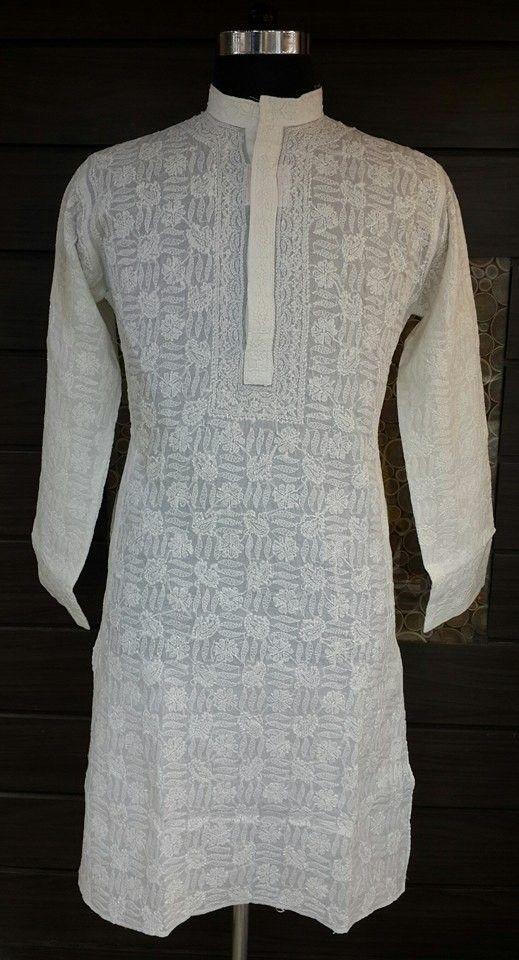 Lucknow Chikan Hand Embroidered Mens Kurta White on White Cotton $52.22