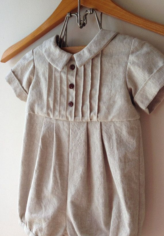 Baby boy's 6 to 9 months cotton/ linen bubble by KritterandLace, $35.00