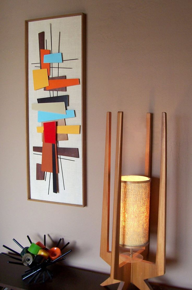 Mid century modern abstract wall art sculpture painting