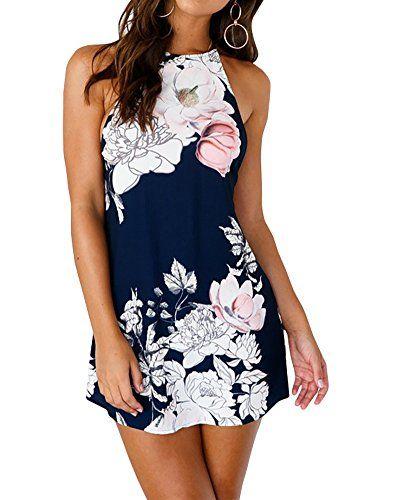 adf946056c8d MISSMAO Donne Elegante Senza Maniche Vestito Corto Partito Vestiti Abito da  Sera con Stampa Floreale Vestito