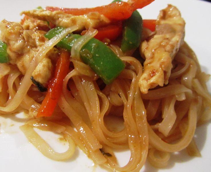 Thai Spicy Basil Pasta. minus the chicken. man i love thai food