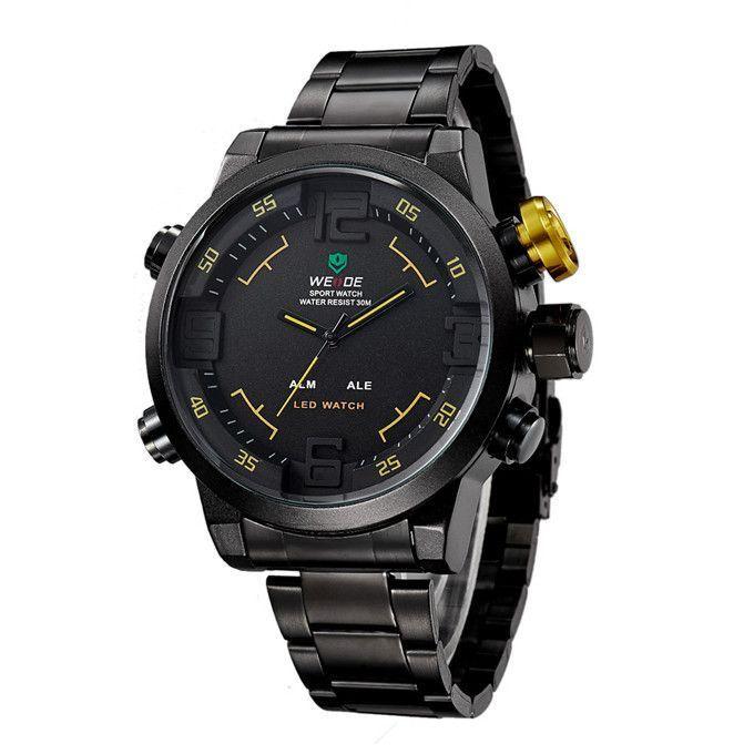 WEIDE Brand Military Watch Men Quartz 30m Waterproof LED Digital Full Stainless Steel Outdoor Sports Watches Dress Wristwatches
