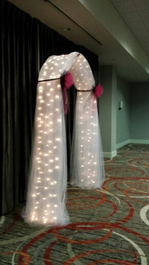 My Draped Lighted Wedding Arch with Tulle
