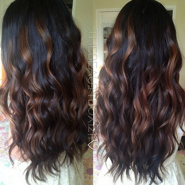 Balayage Highlights on dark hair
