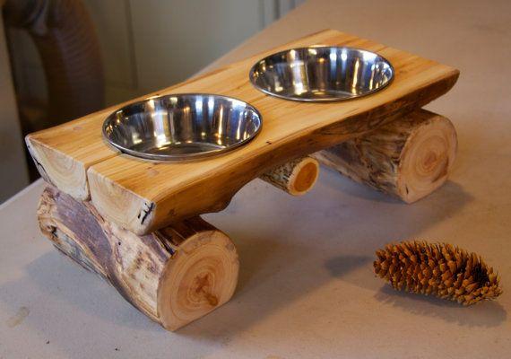 Log Dog Diner  Pet feeder  Pet bowl  Elevated by AspenSpirit