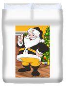 Steelers Santa Claus Duvet Cover by Joe Hamilton