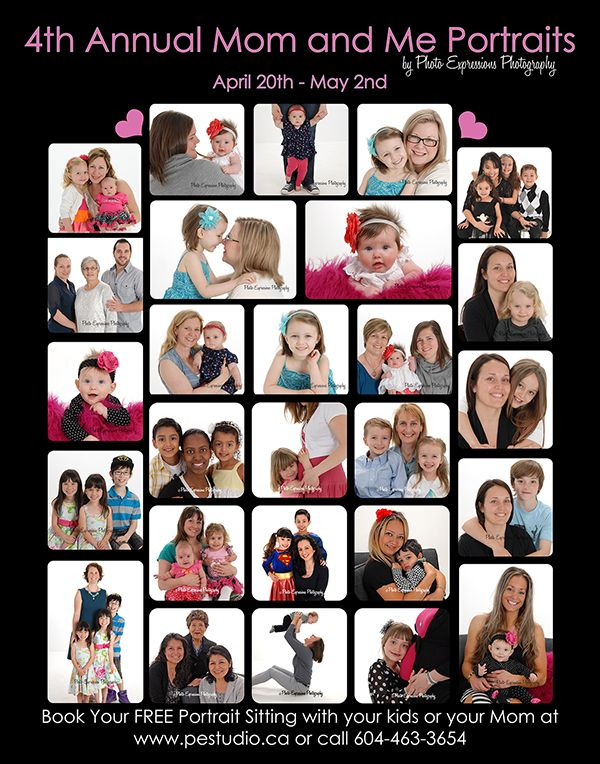 It is time for the 4th Annual Mommy & Me Portrait Event.  Book your Free studio sitting now.  Great for Mother's Day and just because. http://www.pestudio.ca/mommy--me.html